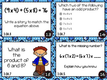 Operations and Algebraic Thinking Task Cards for 3rd Grade