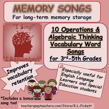 Operations and Algebraic Thinking Vocabulary Word Songs for 3rd to 5th Grades