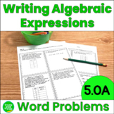 Evaluating Algebraic Expressions Word Problems