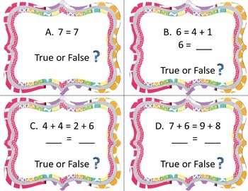 Operations and Algebraic Thinking Write the Room True and False Equations!