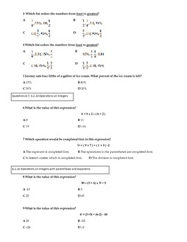 Operations and Fractions and Unit Exam