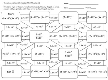 Operations and Scientific Notation Math Maze