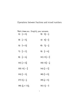 Operations between fractions and mixed numbers