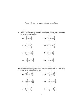 Operations between mixed numbers