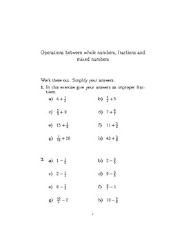 Operations between whole numbers, fractions and mixed numbers