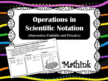 Operations in Scientific Notation Interactive Foldable and Practice