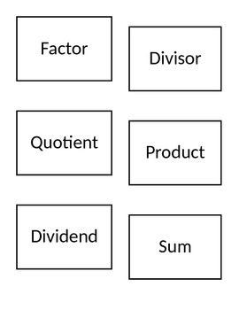 Operations of Arithmetic Vocabulary Matching Game