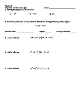Operations of Polynomials Quiz