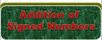 Operations of Signed Numbers PowerPoint Flashcards Set of 4