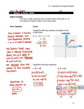 Operations on Complex Numbers Notes Key