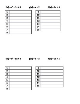 Operations on Functions Matching Activity