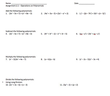Operations on Polynomials - Assignment