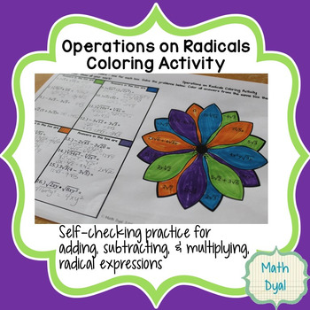 Operations On Radical Expressions Coloring Activity By Math Dyal