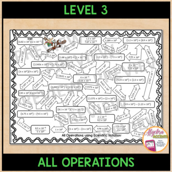 Operations using Scientific Notation Mazes 3 Differentiated Levels