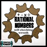 Operations w/ Rational Numbers (negative fractions, decimals) Cat Wreath