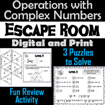 Operations with Complex Numbers Game: Algebra Escape Room Math Activity