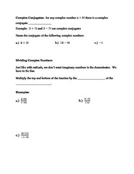 Operations with Complex Numbers:  Guided Notes, Extra Practice, and Quiz