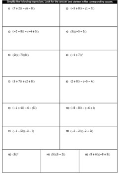 Operations with Complex Numbers Hidden Picture Activity