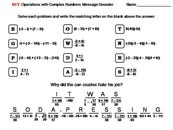Operations with Complex Numbers Worksheet: Math Message Decoder