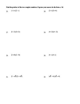Operations with Complex Numbers (not including division) Worksheet