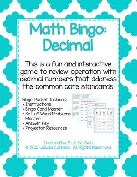Operations with Decimals Bingo Game