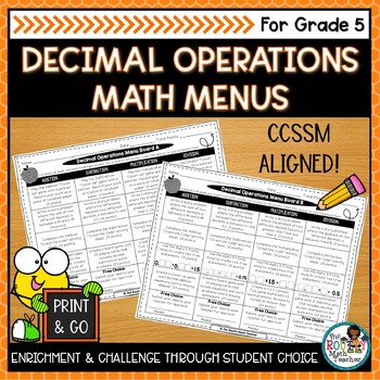Operations Math Menus Bundle (CCSSM-Aligned)