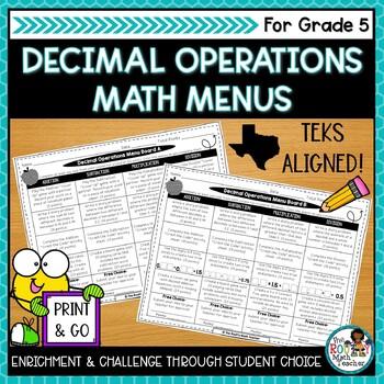 Operations Math Menus Bundle (TEKS-Aligned)