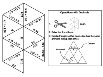 Operations with Decimals Game: Math Tarsia Puzzle