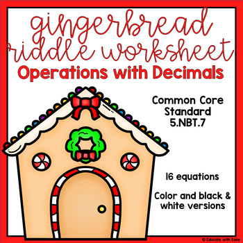 Operations with Decimals Gingerbread Review Worksheet