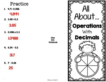 Operations with Decimals Interactive Notebook Brochure