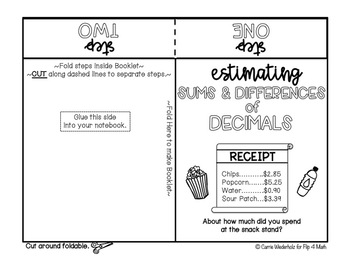 Operations with Decimals Interactive Notebook Foldables