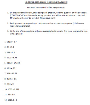 Operations with Decimals Mystery Game 4 Sets- Sub Plans
