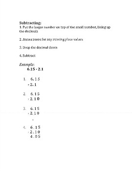 Operations with Decimals Notes