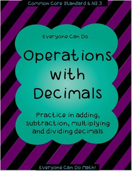 Operations with Decimals:  Worksheets or Homework