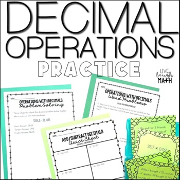 Decimal Operations Printables & Task Cards