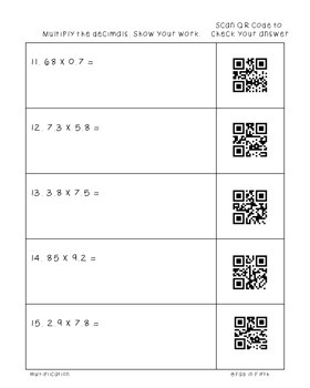 Operations with Decimals QR Code Worksheets Common Core Standard 5.NBT.7