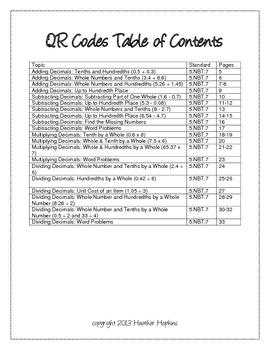 Operations with Decimals QR Codes - 5.NBT.7