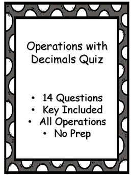Operations with Decimals Quiz - Key Included