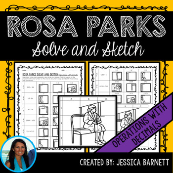 Operations with Decimals Rosa Parks Themed Solve and Sketch Activity
