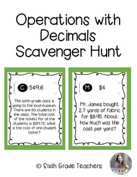 Operations with Decimals Scavenger Hunt