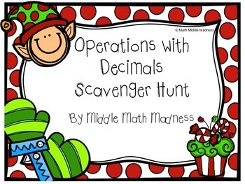 Operations with Decimals Scavenger Hunt- Holiday Theme