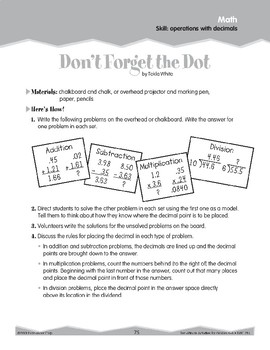 Operations with Decimals (Ten-Minute Activities)