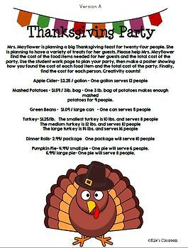 Operations with Decimals- Thanksgiving Party Planning