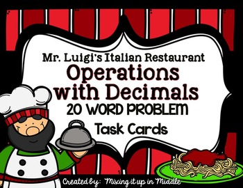 Operations with Decimals:  WORD PROBLEM TASK CARDS MATH CENTER