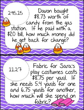 Operations with Decimals Word Problems - Math Scavenger Quest