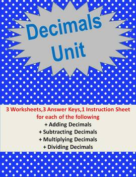 Operations with Decimals Worksheets