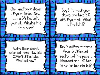 Operations with Decimals & Percents Math Center: Task Cards for a Sales Paper