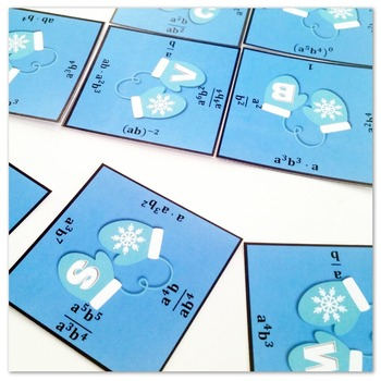 Operations with Exponents Jumbo Puzzles: Set of 3 Winter-Themed Puzzles