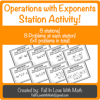 Operations with Exponents Station Activity!