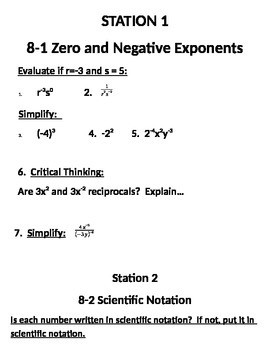 Operations with Exponents and Scientific Notation Stations